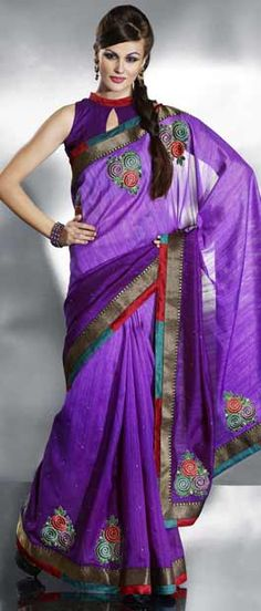 Shaded #Purple Bhagalpuri Art #Silk #Saree With Blouse @ $59.35