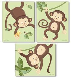 Impresiones de mono para niños arte de pared de por smileywalls