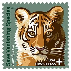 Save Vanishing Species Featuring a bold graphic of an Amur tiger cub, the artwork of the Save Vanishing Species™ First-Class Semipostal stamp depicts just one of the magnificent animals that it is designed to help. Your purchase benefits conservation funds that are helping create hope for the future. As of October 2012, over $1.74 million has been raised for the cause