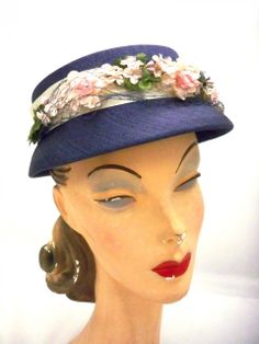 The Cats Pajamas - Vintage Ladies Hat Navy Blue Stiff Cap w  Pink Roses  1950s 9e5e51a1ca8