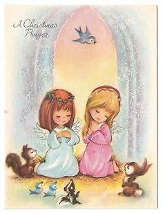 UNUSED Vintage Greeting CardChristmas Cute Angels Animals Praying Glittered