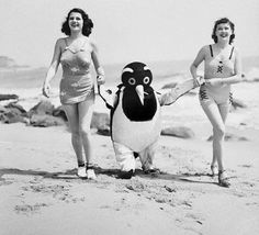 Rita Hayworth, Patricia Farr, and a smoking Penguin, 1930′s