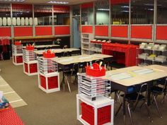love the organization idea at each desk.the wire baskets could be cubbies and the red bins could hold extra supplies for each table grouping and each tables supplies they use could be stored in a caddy. Classroom Layout, 3rd Grade Classroom, Classroom Organisation, Classroom Setting, Teacher Organization, Classroom Design, Kindergarten Classroom, School Classroom, Classroom Decor