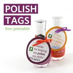 Give your favorite teacher a token of appreciation by attaching a special note to a bottle of nail polish in her favorite color.  Cute idea for specials teachers at end of year!