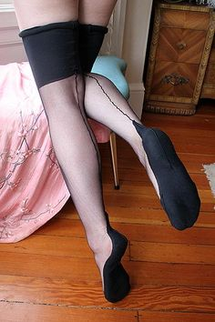 Dollhouse Bettie Juliet Black Seamed Silk Flapper Stockings