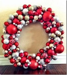 DIY Holiday Wreath-- super easy and inexpensive way to make a festive wreath for your wall or door.