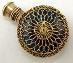 Antique Blue Glass Ormolu Filigree Scent / Perfume Bottle