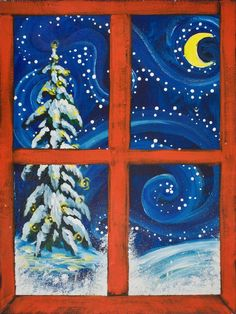 Learn to paint this Charming snow scene of view through a red framed Window. I will show step by step how to create this Christmas Winter painting for Beginners .   Traceable https://theartsherpa.com/tas171125.01