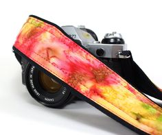Tie Dye Camera Strap, Batik, Hot Pink, Yellow, Green, DSLR, SLR. $26.00, via Etsy.