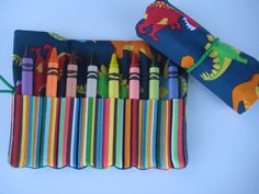 Dinosaur Crayon Roll Holds 8 Crayons Ready to by adorableblessings, $5.00
