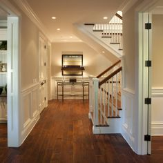 Lovely Foyer Design With Staircase Dutch Colonial Home Interior - light yellow paint. my dream! Dutch Colonial Homes, Modern Colonial, Home Engineering, Shingle Style Homes, Foyer Decorating, Decorating Ideas, Luxury Interior Design, Luxury Homes, House Design