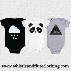 Whistle and Flute | Set of Graphic Onesies | #VonbonBabyGiveaway | http://blog.vonbon.ca