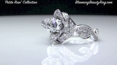 """http://www.BloomingBeautyRing.com  """"Petite Rose"""" Engagement Ring Collection"""