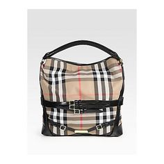 Burberry Large Check Hobo - Black