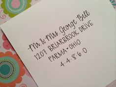 Wedding Calligraphy Addressed invites for your wedding, bridal shower, birthday party, engagement party, baptism.