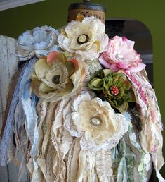 Vintage-Like Rosett Corsages With Lace & Ribbons