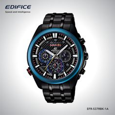 Featuring Edifice Infiniti Red Bull Racing Limited Edition EFR-537RBK-1A in solid steel black theme with active blue ion plated bezel creating the Spirit of Racing.