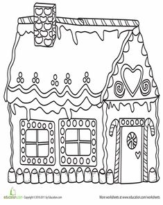 Worksheets: Gingerbread House Coloring Page