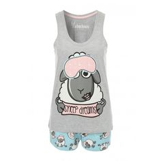 Women's Novelty Top Shorts Pyjamas ($11) ❤ liked on Polyvore featuring intimates, sleepwear, pajamas, summer pajamas, sheep pajamas and summer sleepwear
