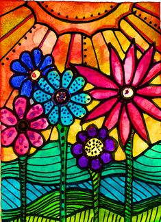 Folk Art Flowers, Flower Art, Sun Art, Crayon Art, Hippie Art, Whimsical Art, Doodle Art, Watercolor Art, Glass Art