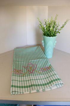 Vintage Green and White Embroidered Tea Towel, Tea Towel, Tea Set, Vintage Linens by TomatoFarmVintage on Etsy
