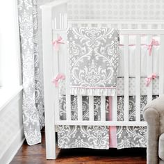 Stella Gray Baby Girl Crib Bedding Set from New Arrivals Inc