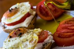 Mediterranean Brunch with Sunny Side up eggs and rusks by Virgilliant Greek Extra Virgin Olive Oil Cooking Time, Olive Oil, Brunch, Greek, Eggs, Yummy Food, Healthy, Breakfast, Recipes