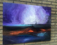 "ARTFINDER: ""Other Worlds"" Purple   - Abstract Ac... by Mo Tuncay - Overview Handmade item Dimensions: 70x90cm  Acrylics on canvas , worked with a lot of layers on canvas ,"