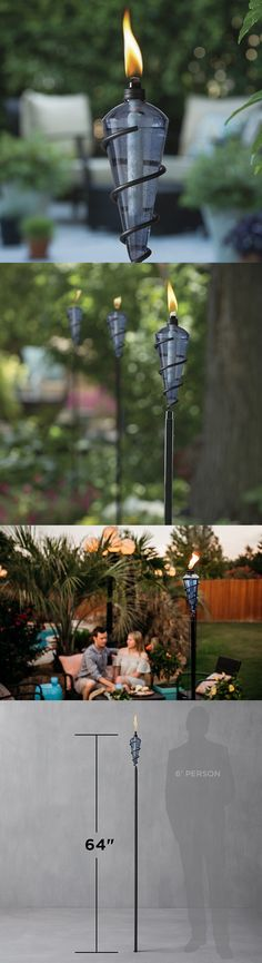 Garden And Patio Torches 183391: 2  Tiki Torch Unique Durable Blue Glass  64In Tall