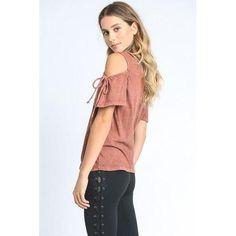 Mineral Wash Cold Shoulder Top - Rust - S - Clothes