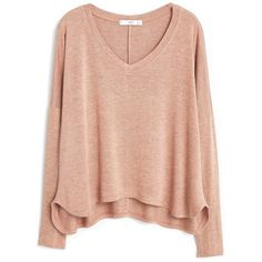 Flecked T-Shirt (€25) ❤ liked on Polyvore featuring tops, t-shirts, long sleeves, side slit tee, v-neck tops, v neck t shirts, long sleeve v neck t shirts and mango t shirt