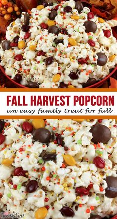 Fall Harvest Popcorn - an easy family treat for Fall! Sweet and salty popcorn, covered with marshmallows and beautiful Harvest Blend M&M's - so delici. Fall Snacks, Halloween Snacks, Fall Treats, Fall Desserts, Holiday Treats, Christmas Desserts, Halloween Popcorn, Halloween Ideas, Popcorn Snacks