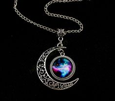 Moon Necklace, Crescent Moon Pendant Necklace, Nebula, Galaxy Space, Galactic Cosmic Moon, Dream Discover, Friendship, Graduation Gift on Etsy, $5.99