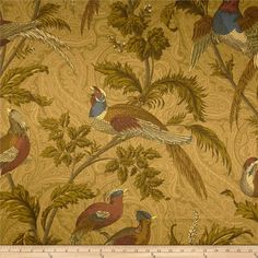 Braemore Pheasant Hunt Twill Tapestry from @fabricdotcom  Screen printed on cotton twill, this versatile lightweight (approx. 5.5 ounce) fabric is very versatile. Perfect fabric for window treatments (draperies, valances, curtains, and swags), bed skirts, duvet covers, pillow shams, accent pillows, slipcovers, upholstery and apparel including tote bags and aprons. It features a soil and stain resistant finish. Colors include gold, olive, brick and blue.
