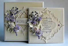 Dorota_mk: Z delikatną nutą fioletu. Made with Spellbinders Fleur de Lis… Shabby Chic Cards, Spellbinders Cards, Beautiful Handmade Cards, Marianne Design, Heartfelt Creations, Pretty Cards, Card Tags, Flower Cards, Creative Cards