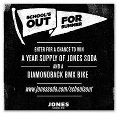 Jones Soda School's Out for Summer Sweepstakes – Ends June 9th #sweepstakes https://www.goldengoosegiveaways.com/win-diamondback-bmx-bike-jones-soda-year?utm_content=buffer967c3&utm_medium=social&utm_source=pinterest.com&utm_campaign=buffer