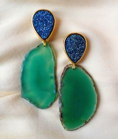 www.nicolabathie.com  Druzy and agate earrings!- might be cool with sea glass instead!