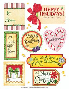 Gooseberry Patch: Printable Holiday Labels - #printable #christmas