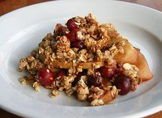 (healthier option) Apple Cranberry Crisp ... 3 medium to large crisp red apples, peeled and sliced; 1 cup fresh cranberries; 1/2 cup apple juice; 1 1/2 teaspoon all-purpose flour; 1 1/2 teaspoon pumpkin pie spice; 2 cups granola ... 350 degrees for 40-45 min