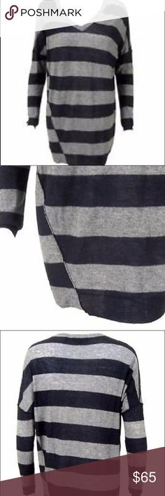 """Vince Wool V-Neck Striped Oversized Sweater XS This is a Vince V-Neck striped sweater. It is made of a viscose/wool blend. Size extra small. Navy and grey. Bust 50"""" length 32"""". No flaws. Vince Sweaters V-Necks"""