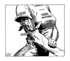 "Yet another cyberarm drawing for Shadowrun. From ""Rigger FASA, 1997 Shadowrun - Shock Hazard Art Cyberpunk, Cyberpunk Character, Cyberpunk Tattoo, Cyberpunk Aesthetic, Comics Illustration, Illustrations, Character Concept, Character Art, Robot Concept Art"