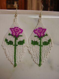 Beautiful Native American Style Beaded Pink Rose Earrings. $20.00, via Etsy.