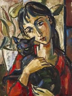 View Girl with a cat by Hennie Niemann Jr. Browse upcoming and past auction lots by Hennie Niemann Jr. Abstract Portrait, Portrait Art, Painting Gallery, Art Gallery, Expressionist Portraits, Space Artwork, Photo Chat, Illustrations, Cat Art