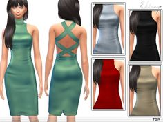 The Sims Resource: Cross Back Dress by Ekinege • Sims 4 Downloads