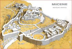 Micene Mycenaean, Minoan, Castle Illustration, Holiday Places, Fantasy Map, Medieval Castle, Historical Pictures, Cartography, Ancient History