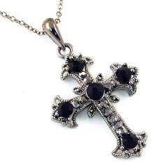 Black Crystal Cross Pendant Necklace