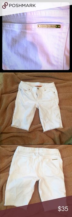 White Tory Burch Jean Shorts White Tory Burch Jean shorts with fraying at bottom of legs.  Excellent condition, no stains.  They say 28, fit more like 27. Tory Burch Shorts Jean Shorts