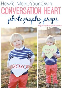 How To Make Your Own Conversation Heart Photography Props - Great for Valentine's Day cards!