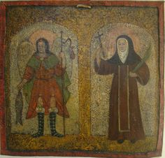 """Arcángel San Ráfael y Santa Teresa"" Col. venezolano Edo. Lara, sg. XVII. O/latón. med. 21X15 cms."