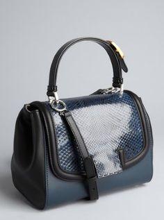 blue and black leather 'Silvana' snakeskin flap crossbody bag
